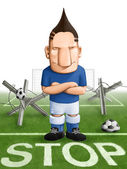 Soccer strong defender — Stock Photo