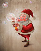 Santa Claus and the bubbles soap — Stok fotoğraf
