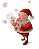 Santa Claus and the bubbles soap - White background — Foto de Stock