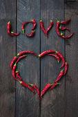 Red Chili pepper LOVE — Stock Photo