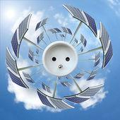 Panel słoneczny wokół gniazda - ekologia koncepcja — Zdjęcie stockowe