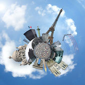 Monuments of Paris on a planet - Travel concept — Stock Photo