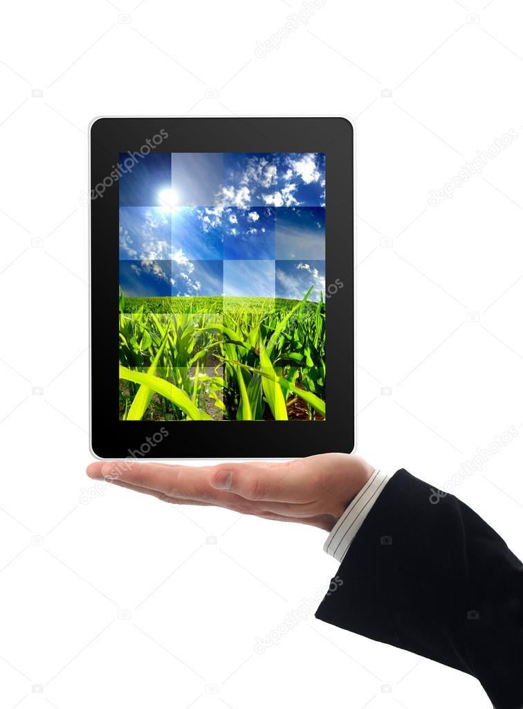 Touchscreen tablet with news inside  Stock Photo #13291464