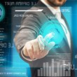 Business men touching a futuristic touchscreen interface — Stok fotoğraf