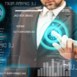 Business men touching a futuristic touchscreen interface — Stock Photo