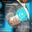 Business men touching futuristic touchscreen interface — Stok Fotoğraf #19849047