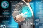 Business men touching a futuristic touchscreen interface — Stock Photo