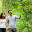 Young couple having a walk in a forest — Stock Photo #45908939