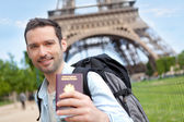 Young attractive happy tourist in Paris — Stock Photo