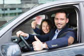 Driver in his car after getting his driving licence — Stock Photo