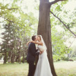 Bride and groom near the tree in the park — Stock Photo #40958625