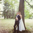 Bride and groom near the tree in the park — Stock Photo #40958631