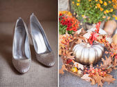 Silver shoes and silver color pumpkin — Stock Photo