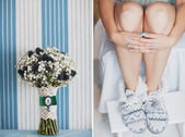 Bridal bouquet of Gypsophila and wedding blue manicure — Stock Photo