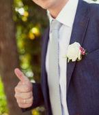 Groom in a wedding jacket — Stock Photo