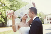 Bride covering veil her  covering veil — Stockfoto