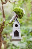 Wedding  bouquet  on the bird feeder — Stock Photo