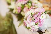 Wedding bouquet with  pink and white roses — Stock Photo