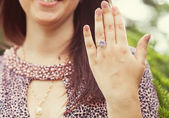 Ring with a diamond on the hand — Stock Photo