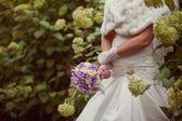 Bride with wedding bouque — Stock Photo