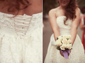 Wedding collage, bouquet in the hands of the bride — Stock Photo