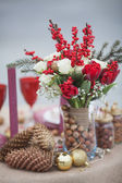 Christmas decorations, wedding table in the park — Stock Photo