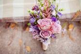 Mavi ve beyaz buket düğün — Stok fotoğraf