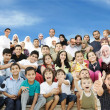 Stock Photo: Arabic Muslim portrait of very big family group with many members