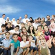 Arabic Muslim portrait of very big family group with many members — Stock Photo