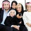Arabic Muslim business with children at office — Stock Photo #18866511
