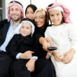 Arabic Muslim business with children at office — Stock Photo #18866539