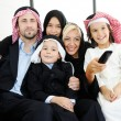 Arabic Muslim business with children at office — Stock Photo #18866561
