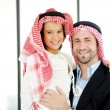 Arabic Muslim businessman with his son at office — Stock Photo #18866647