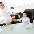 Business children acting as real at office — Stock Photo #18866773
