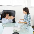 Business children acting as real at office — Stock Photo #18866797