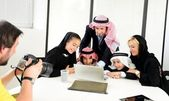Arabic Muslim family having photo shooting — Stock Photo