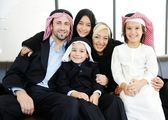 Arabic business with children at office — Stock Photo