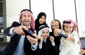 Arabic Muslim with children at home — Stock Photo
