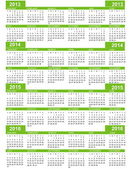 Calendario, año 2013, 2014, 2015, 2016 — Vector de stock