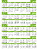 Calendar, New Year 2013, 2014, 2015, 2016 — Stock Vector