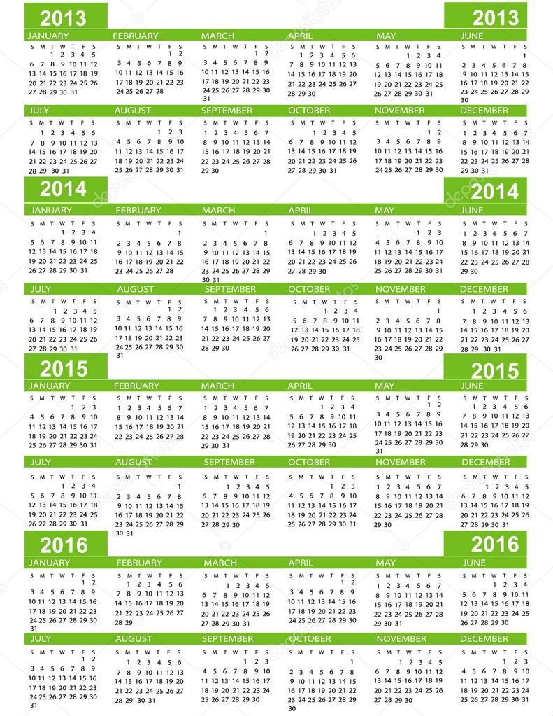 Calendar, New Year  2013, 2014, 2015, 2016 with green lines  Stock Vector #12479610