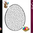 Rabbit is looking for the  eggs in labyrinth - Stock Vector
