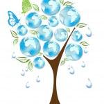Eco, bio, vert et recycle des symboles sur l'arbre — Vecteur