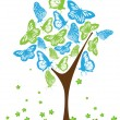 Blue and green butterflies on tree - Stock Vector
