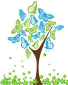Blue and green butterflies on tree — Stock Vector