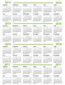 Calendar, New Year 2014, 2015, 2016, 2017 — Stock Vector