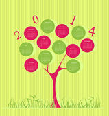 Tree calendar for 2014 year — Stock Vector