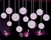 Calendar for 2014 year with circles — Vetorial Stock