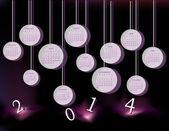 Kalendarz na rok 2014 z koła — Wektor stockowy