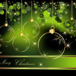Merry Christmas  background gold and green — Imagen vectorial